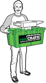 Man Holding reloCRATES Box Containing An Anvil